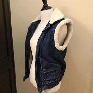 VINTAGE 70's Denim and Fleece Vest